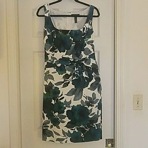 Green floral structured dress